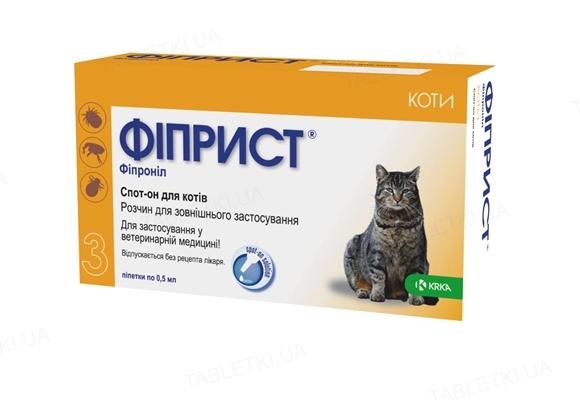 Фиприст Спот-он капли от блох и клещей для кошек, 1 пипетка