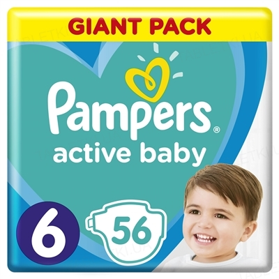 Підгузки дитячі Pampers Active Baby розмір 6, 13-18 кг, 56 штук