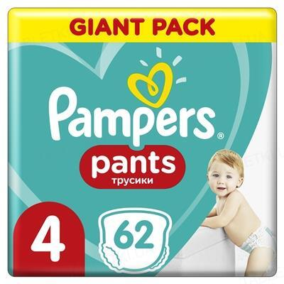 Подгузники-трусики детские Pampers Pants размер 4, 9-15 кг, 62 штуки