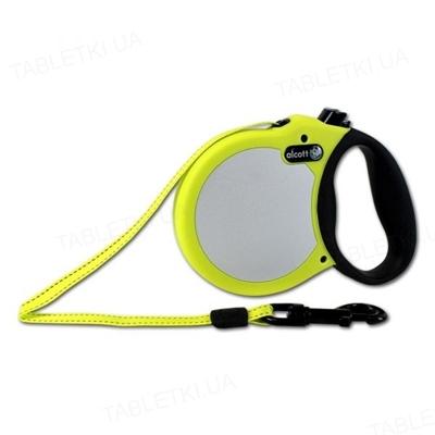 Поводок-рулетка Alcott adventure visibility для собак до 20 кг, 5 м со светоотражающей лентой, желтый неон