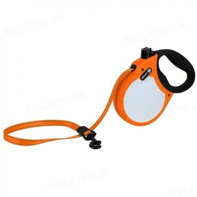 Поводок-рулетка Alcott adventure visibility для собак до 30 кг, 5 м со светоотражающей лентой, оранжевый неон