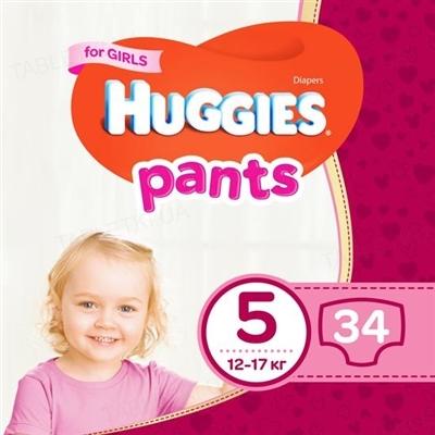 Трусики-подгузники детские Huggies Pants для девочек, размер 5, 12-17 кг, 34 штук