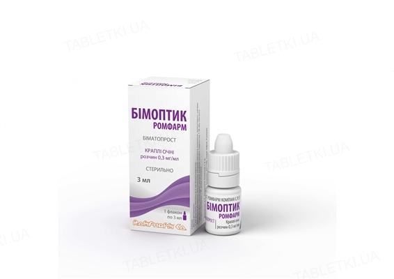 Бимоптик Ромфарм капли глаз., р-р 0.3 мг/мл по 3 мл во флак.