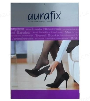 Чулки компрессионные Aurafix AV-109 класс компрессии 2, закрытый носок, цвет черный, размер 4/S