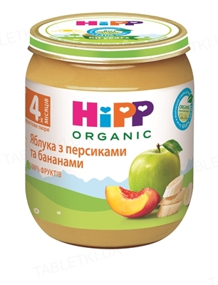 Фруктовое пюре HiPP «Яблоки с персиками и бананами», 125 г
