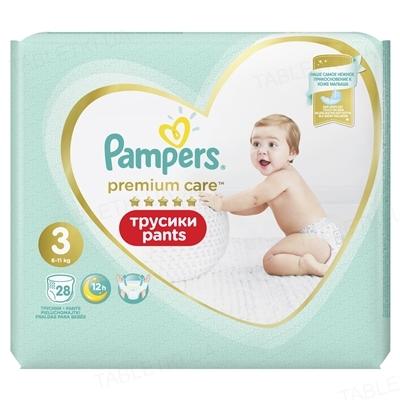 Подгузники-трусики детские Pampers Premium Care Pants размер 3, 6-11 кг, 28 штук