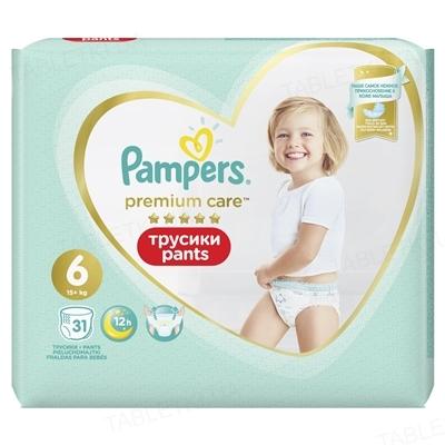 Подгузники-трусики детские Pampers Premium Care Pants размер 6, 15+ кг, 31 штука