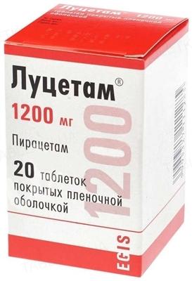 Луцетам таблетки, п/плен. обол. по 1200 мг №20 во флак.