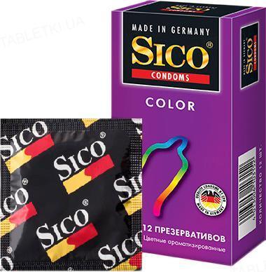 Презервативы Sico Color цветные, ароматизированные, 12 штук
