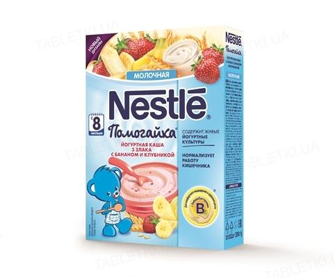 Йогуртная каша Nestle Помогайка 3 злака с бананом и клубникой, 200 г
