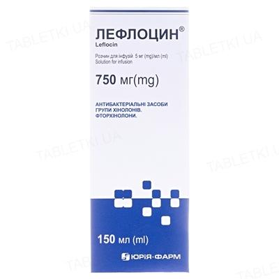 Лефлоцин раствор д/инф. 5 мг/мл по 150 мл в бутыл.