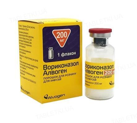 Вориконазол Алвоген порошок для р-ра д/инф. по 200 мг №1 во флак.