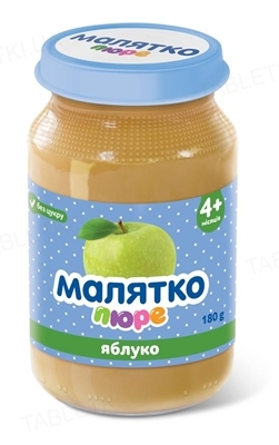 Пюре фруктовое Малятко Яблочное, без сахара, 180 г
