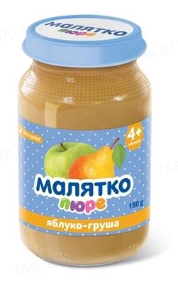 Пюре фруктовое Малятко Яблоко и груша, без сахара, 180 г