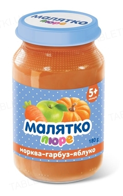 Пюре фруктово-овощное Малятко Морковь, тыква и яблоко, 180 г