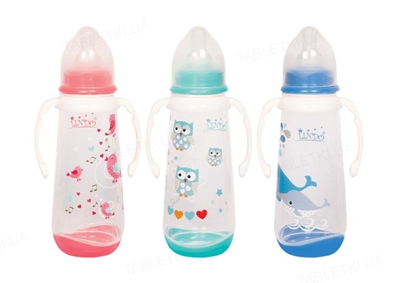 Бутылочка для кормления Lindo LI 125 со сьемными ручками и силиконовой соской, 250 мл