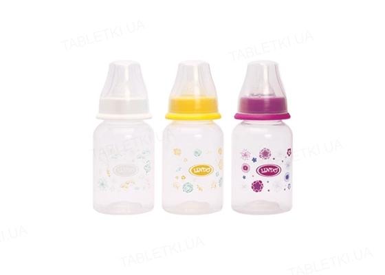 Бутылочка для кормления Lindo LI 142 круглая с силиконовой соской, 125 мл