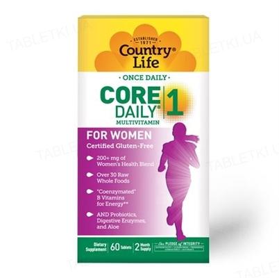 Витаминно-минеральный комплекс Country Life Core Daily 1, для женщин до 50 лет, 60 таблеток