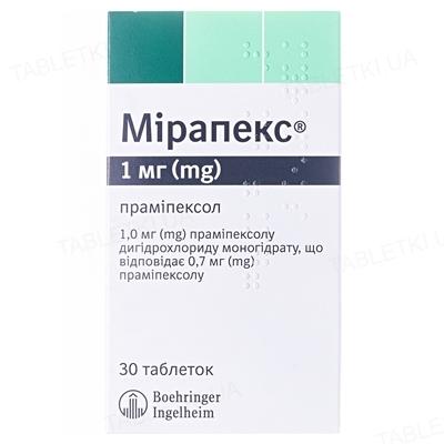 Мирапекс таблетки по 1 мг №30 (10х3)