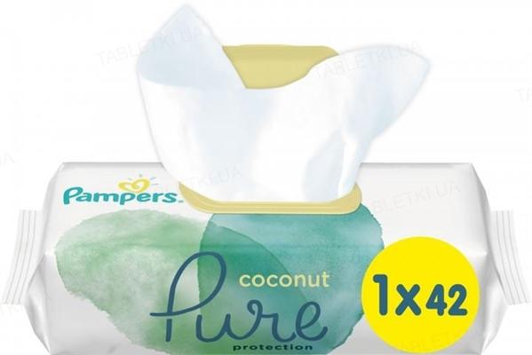 Салфетки влажные детские Pampers Pure Coconut 42 штуки