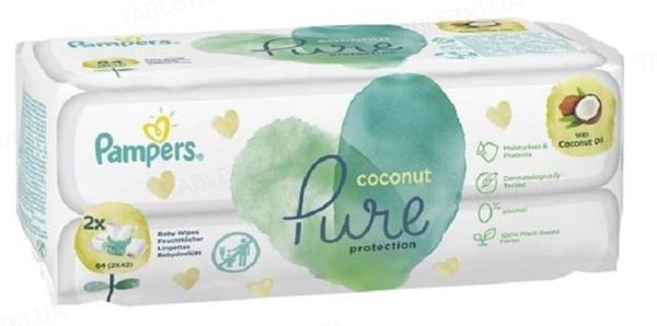 Салфетки влажные детские Pampers Pure Coconut 84 штуки