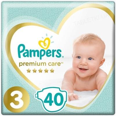 Подгузники детские Pampers Premium Care размер 3, 6-10 кг, 40 штук