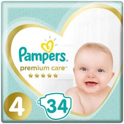 Подгузники детские Pampers Premium Care размер 4, 9-14 кг, 34 штуки