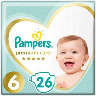 Подгузники детские Pampers Premium Care размер 6, 13+ кг, 26 штук