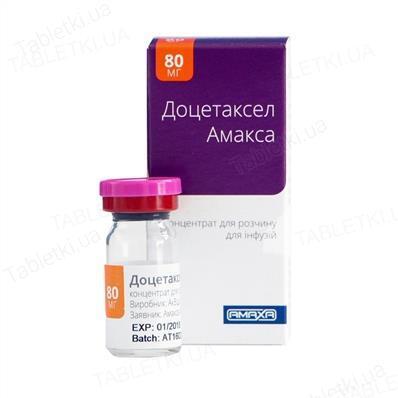 Доцетаксел Амакса концентрат для р-ра д/инф. 20 мг/мл по 4 мл №1 во флак.