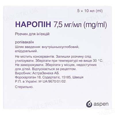 Наропин раствор д/ин. 7.5 мг/мл по 10 мл №5 в амп.