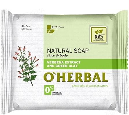 Мыло твердое O'Herbal с экстрактом вербены и зеленой глиной, 100 г
