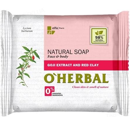 Мыло твердое O'Herbal с экстрактом годжи и красной глиной, 100 г