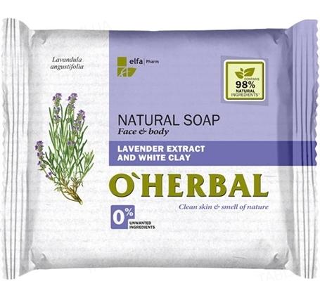 Мыло твердое O'Herbal с экстрактом лаванды и белой глиной, 100 г