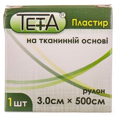 Пластырь медицинский Teta на тканевой основе, катушка, 3 х 500 см, 1 штука