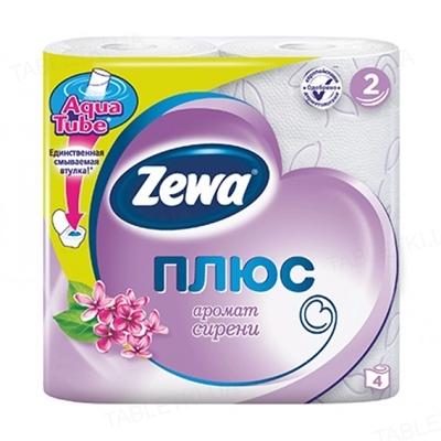 Туалетная бумага Zewa Плюс Сирень двухслойная, белая, 4 рулона