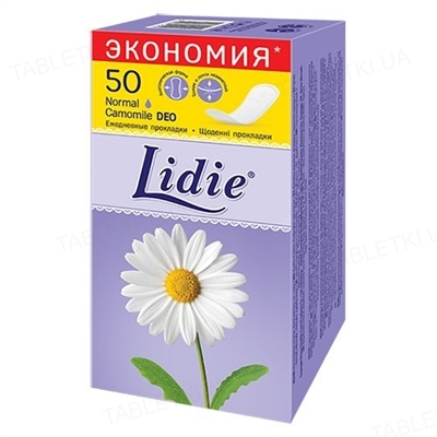 Щоденні гігієнічні прокладки Lidie Normal Deo, 50 штук