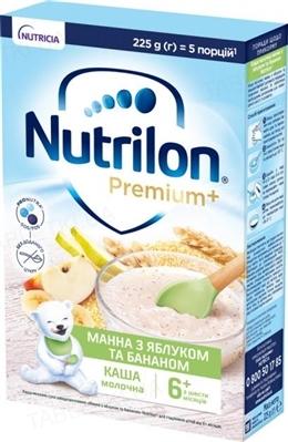 Молочная каша Nutrilon Premium Манная с яблоком и бананом для детей с 6 месяцев, 225 г