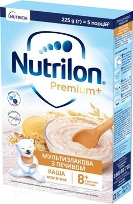 Молочная каша Nutrilon Premium Мультизлаковая с печеньем для детей с 8 месяцев, 225 г
