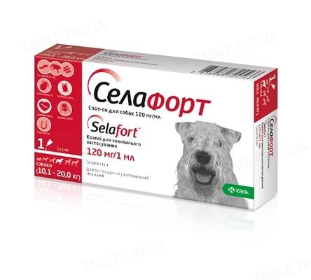 Селафорт капли от блох клещей и гельминтов для собак весом 10-20 кг, 1 пипетка