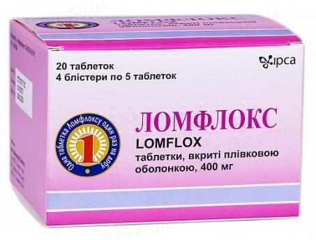 Ломфлокс таблетки, п/плен. обол. по 400 мг №20 (5х4)