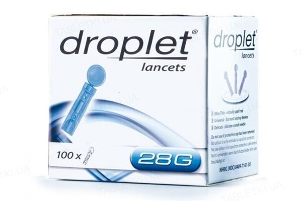 Ланцеты Droplet медицинские, стерильные G28, 100 штук