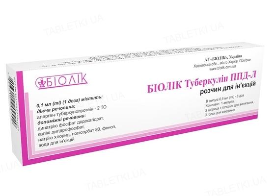Биолек туберкулин ППД-Л комплект: раствор д/ин. 2 то/доза (6 доз) по 0.6 мл №1 в амп.+3 шпр+иголк.