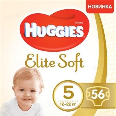 Подгузники детские Huggies Elite Soft, размер 5, 12-22 кг, 56 штук