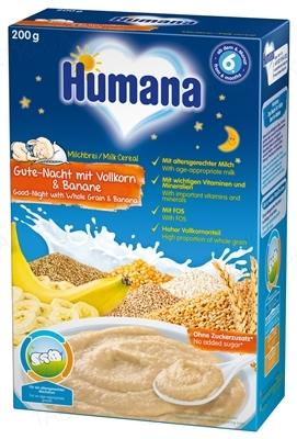 Сухая молочная каша Humana Сладкие сны цельнозерновая с бананом для детей с 6 месяцев, 200 г