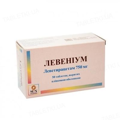 Левениум таблетки, п/плен. обол. по 750 мг №50 (10х5)