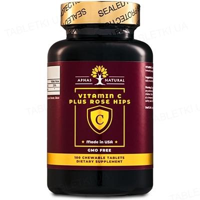 Витамин С 250 мг Apnas Natural с шиповником таблетки жевательные №100
