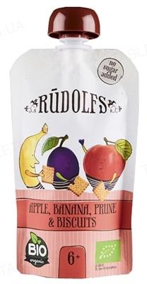 Фруктовое Пюре Rudolfs Смузи яблоко-банан-чернослив с печеньем органическое, 110 г