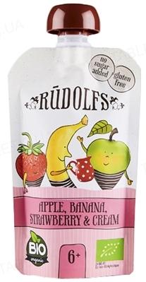 Фруктовое Пюре Rudolfs Смузи яблоко-банан-клубника со сливками органичное, 110 г