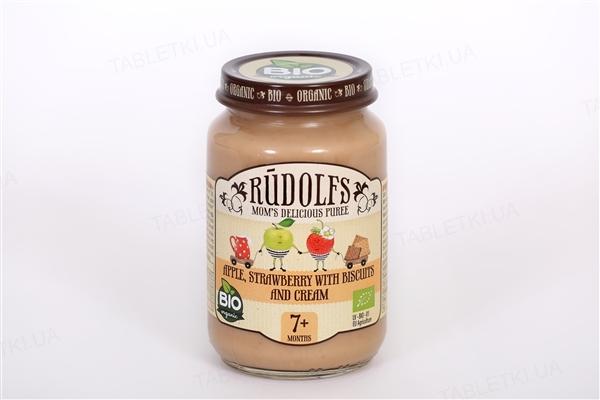 Фруктовое пюре Rudolfs Десерт яблоко-клубника с печеньем и сливками, 190 г