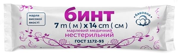 Бинт марлевый медицинский FD Family Doctor нестерильный 7 м х 14 см, из марли типа 17